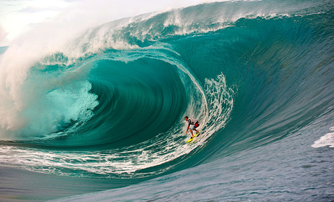 Dylan Longbottom at Teahupoo, Tahiti