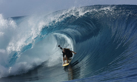 Jamie O'Brien stands tall at Teahupoo with Red Bull 360 Degree Video Camera