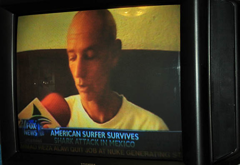 shark attack bruce grimes American Surfer Injured in Shark Attack Plans to Surf Again