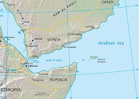 Map of the Middle East - Somalia, Yemen, Oman