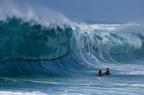 Clark Little at work photographing the Waimea Shorebreak from the impact zone