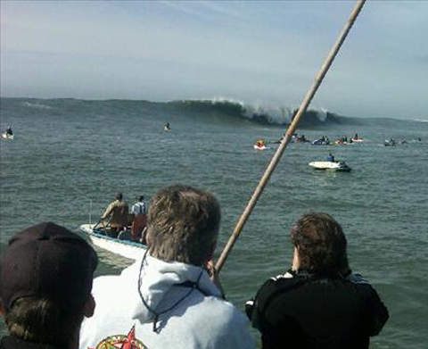 View from the boat of the Mavericks Surf Contest - This photo posted via Twitter